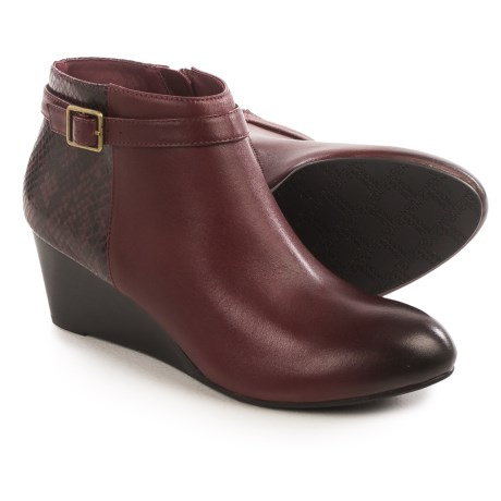Vionic with Orthaheel Technology Shasta Ankle Boots - Leather, Wedge Heel (For Women) in Merlot Leather/Merlot Snakeskin