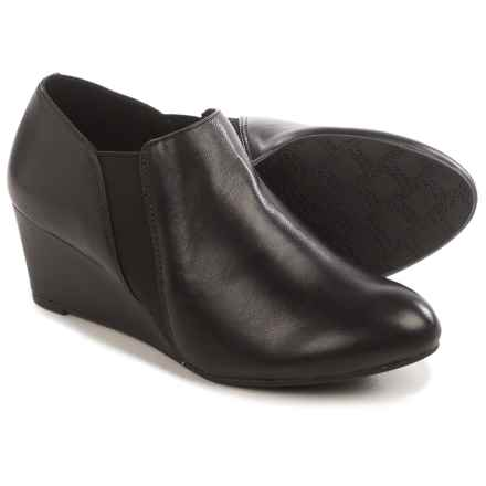 Vionic with Orthaheel Technology Stanton Ankle Boots - Leather, Wedge Heel (For Women) in Black Leather - Closeouts