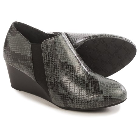 Vionic with Orthaheel Technology Stanton Ankle Boots - Leather, Wedge Heel (For Women) in Grey Snakeskin