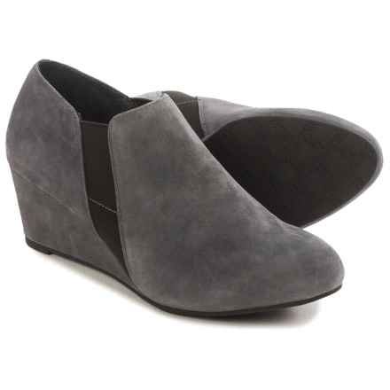 Vionic with Orthaheel Technology Stanton Ankle Boots - Leather, Wedge Heel (For Women) in Slate Grey Suede - Closeouts