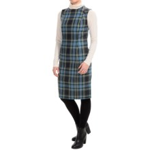Virgin Wool Lined Plaid Jumper (For Women) in Navy/Green Plaid - 2nds