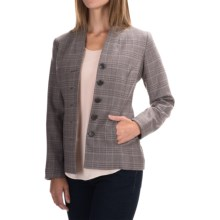Virgin Wool Plaid Blazer (For Women) in Brown/Black - 2nds