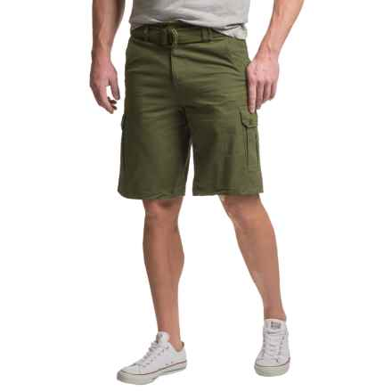 Visitor Belted Cargo Shorts (For Men) in Olive - Closeouts