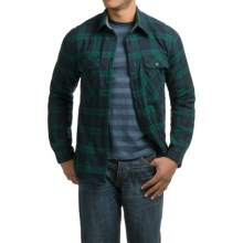 Visitor Flannel Sherpa-Lined Shirt Jacket (For Men) in Black Watch Plaid - Closeouts