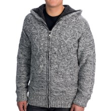 Visitor Hooded Cable Cardigan Sweater - Sherpa Lining (For Men) in Black - Closeouts