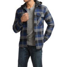 Visitor Hooded Flannel Shirt Jacket - Sherpa Lined (For Men) in Blue/Grey - Closeouts