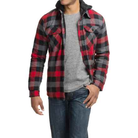 Visitor Hooded Flannel Shirt Jacket - Sherpa Lined (For Men) in Red/Grey - Closeouts
