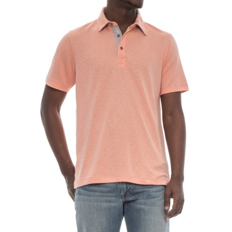 Visitor Polo Shirt - Modal, Short Sleeve (For Men) in Peach
