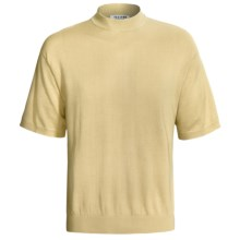 Visitor Silk-Cotton Shirt - Mock Neck, Short Sleeve (For Men) in Gold - Closeouts