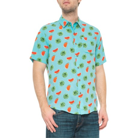 45b116641 Visitor Watermelon Print Shirt - Button Front, Short Sleeve (For Men) in  Sky. Tap to expand