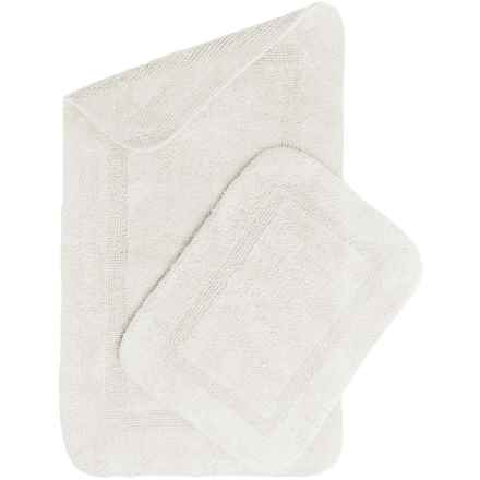 Vista Home Fashions Chalet Rectangle Bath Rugs - Set of 2 in White - Closeouts