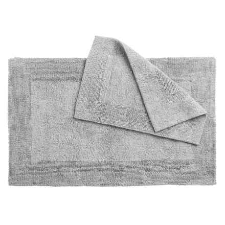 Vista Home Fashions Grand Hotel Collection Oversized Bath Rugs - Set of 2, Reversible in Mist Grey - Closeouts