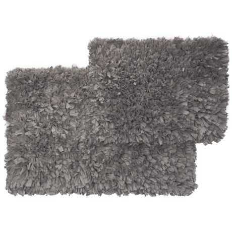"""Vista Home Fashions Soho Collection Solid Paper Shag Bath Rug Set - 21x34"""", 17x24"""" in Frost Grey"""