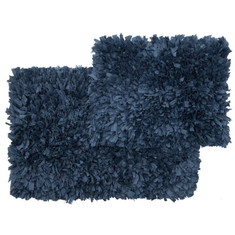 "Vista Home Fashions Soho Collection Solid Paper Shag Bath Rug Set - 21x34"", 17x24"" in Navy"
