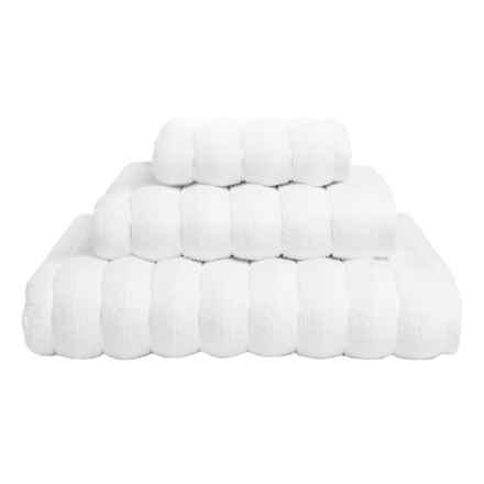 Vista Home Fashions Vague Collection Bath Towel - Turkish Zero-Twist Cotton in White - Closeouts