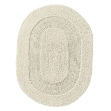 "Vista Home Oval Cotton Bath Rug - 17x24"", Reversible in Ivory - Closeouts"