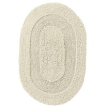"Vista Home Oval Cotton Bath Rug - 21x34"", Reversible in Ivory - Closeouts"