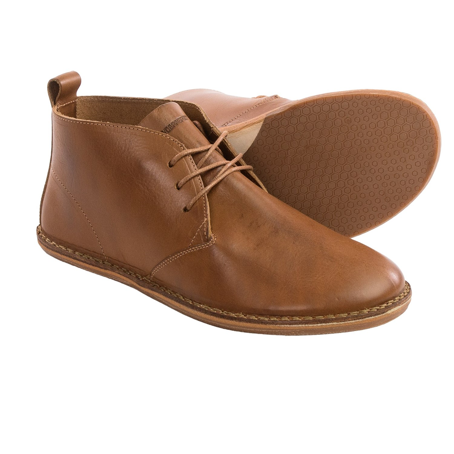 Chukka boots (/ ˈ tʃ ʌ k ə /) are ankle-high leather boots with suede or leather uppers, leather or rubber soles, and open lacing with two or three pairs of eyelets. The name chukka possibly comes from the game of polo, where a chukka is a period of play.