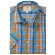 Viyella Check Shirt - Spread Collar, Short Sleeve (For Men) in Gold/Blue - Closeouts