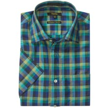 Viyella Check Shirt - Spread Collar, Short Sleeve (For Men) in Navy/Green - Closeouts