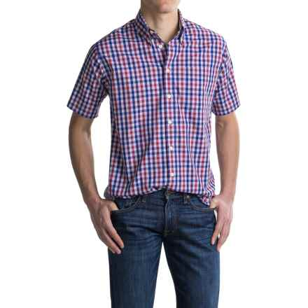 Viyella Checkered Plaid Sport Shirt - Cotton, Short Sleeve (For Men) in Royal - Closeouts