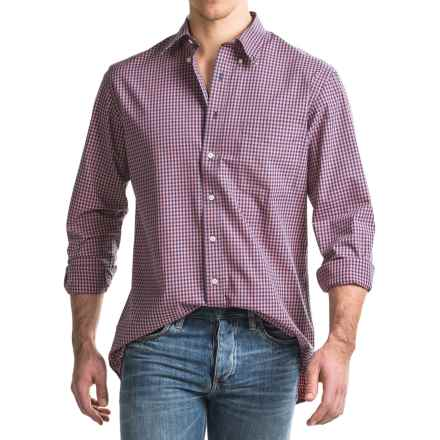 Viyella Checkered Sport Shirt - Cotton, Long Sleeve (For Men) in Navy/Coral - Closeouts