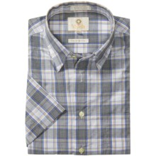 Viyella Cotton Check Shirt - Hidden Button-Down Collar, Short Sleeve (For Men) in Charcoal/Brown - Closeouts