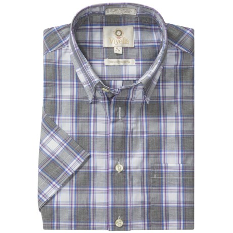 Viyella Cotton Check Shirt - Hidden Button-Down Collar, Short Sleeve (For Men) in Charcoal.Purple