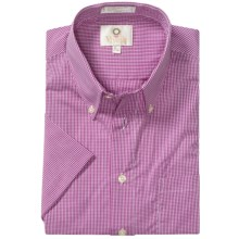 Viyella Cotton Check Shirt - Large Button-Down Collar, Short Sleeve (For Men) in Magenta - Closeouts