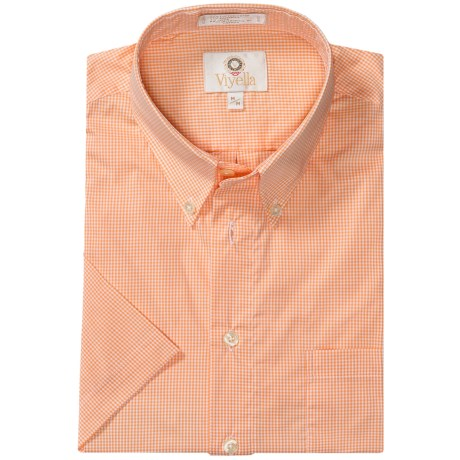 Viyella Cotton Check Shirt - Large Button-Down Collar, Short Sleeve (For Men) in Tangerine