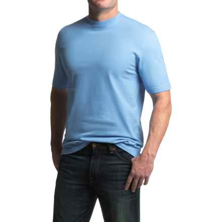 Viyella Cotton Crew Neck T-Shirt - Short Sleeve (For Men) in Blue - Closeouts