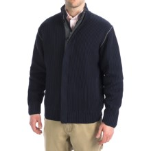 Viyella Cotton Full-Zip Sweater - Knit Collar (For Men) in Blue/Grey - Closeouts