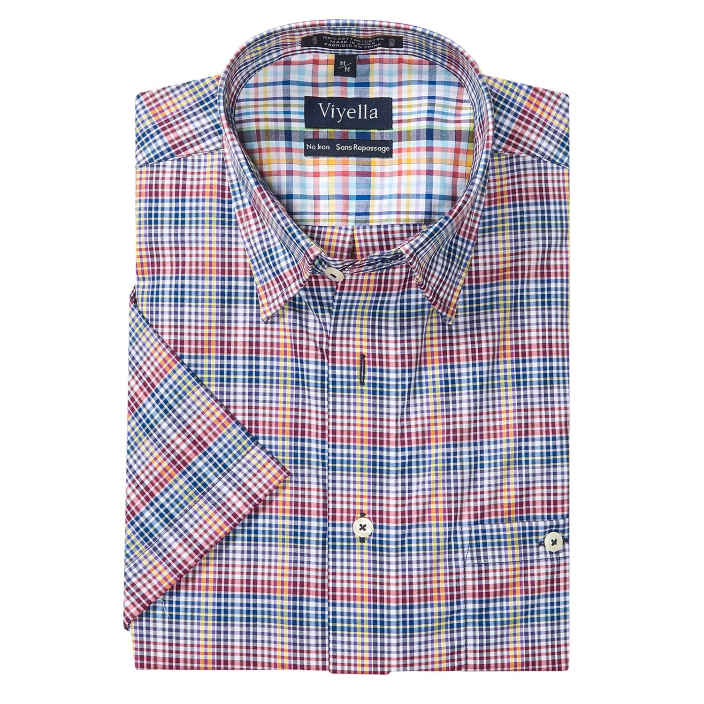 Viyella cotton no iron multi check sport shirt for men for No iron cotton shirts