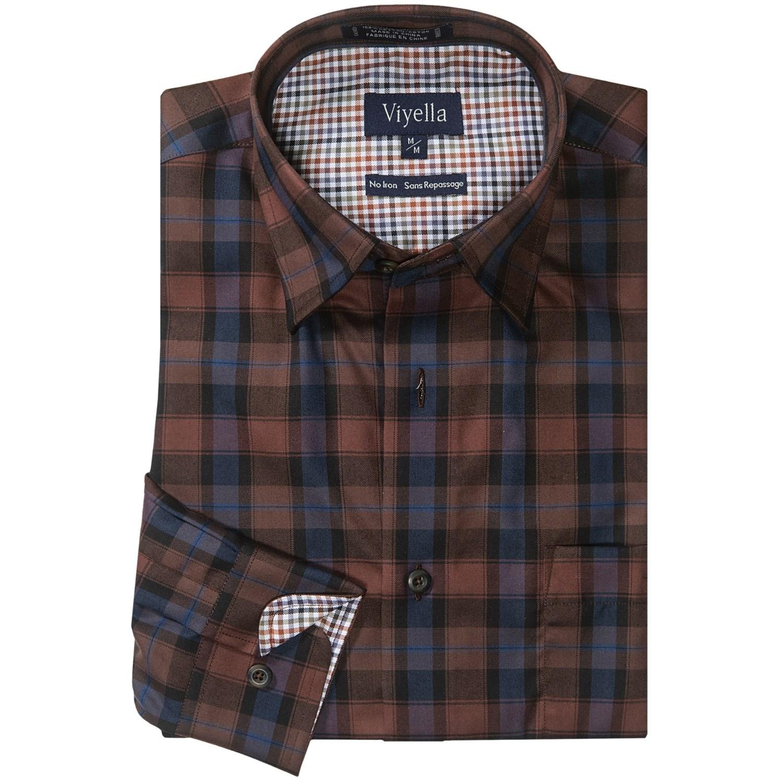 Viyella cotton no iron sport shirt hidden button down for No iron shirts mens