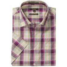 Viyella Cotton Plaid Shirt - Short Sleeve (For Men) in Purple Haze - Closeouts