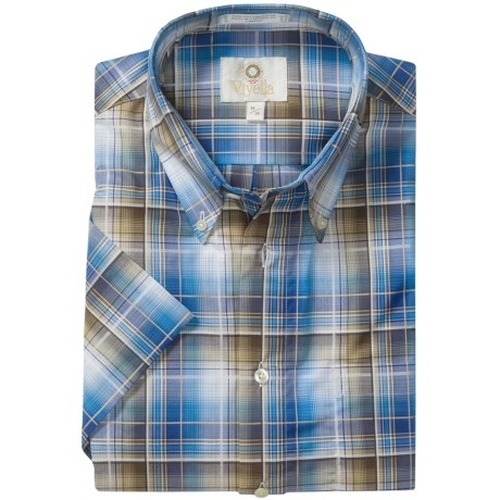 Viyella Cotton Plaid Sport Shirt - Button Down, Short Sleeve (For Men) in Blue/Brown