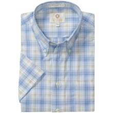 Viyella Cotton Plaid Sport Shirt - Button Down, Short Sleeve (For Men) in Blue/Tan - Closeouts
