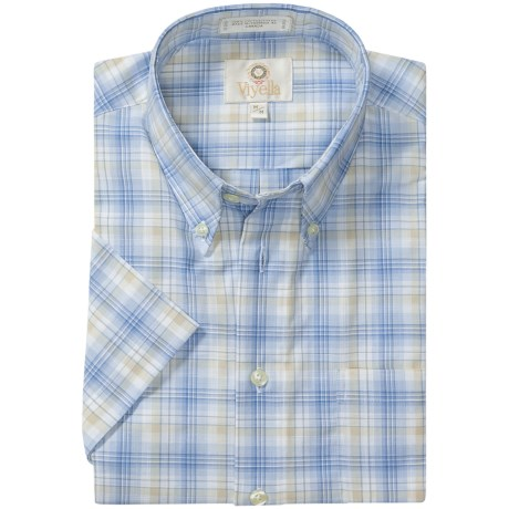 Viyella Cotton Plaid Sport Shirt - Button Down, Short Sleeve (For Men) in Blue/Tan