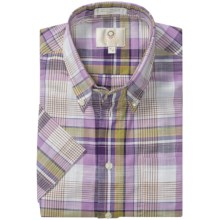 Viyella Cotton Plaid Sport Shirt - Button Down, Short Sleeve (For Men) in Plum/Lime - Closeouts