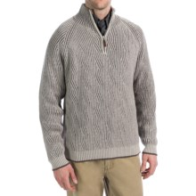 Viyella Cotton Pullover Sweater - Zip Neck, Long Sleeve (For Men) in White/Brown - Closeouts