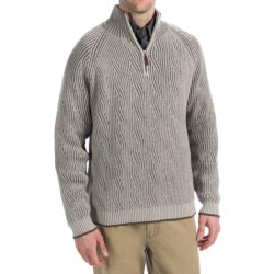 Viyella Cotton Pullover Sweater - Zip Neck, Long Sleeve (For Men) in White/Brown