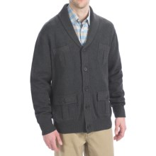 Viyella Cotton Shawl Cardigan Sweater - Button-Up (For Men) in Charcoal - Closeouts