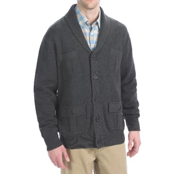 Viyella Cotton Shawl Cardigan Sweater - Button-Up (For Men) in Charcoal
