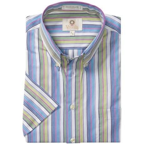 Viyella Cotton Stripe Sport Shirt - Button Down, Short Sleeve (For Men) in Blue/Purple/Green