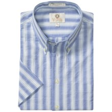 Viyella Cotton Stripe Sport Shirt - Button Down, Short Sleeve (For Men) in Light Blue - Closeouts