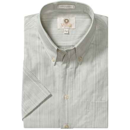 Viyella Cotton Stripe Sport Shirt - Button Down, Short Sleeve (For Men) in Pale Blue - Closeouts