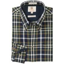 Viyella Cotton-Wool Multi-Windowpane Sport Shirt - Button-Down Collar, Long Sleeve in Navy - Closeouts