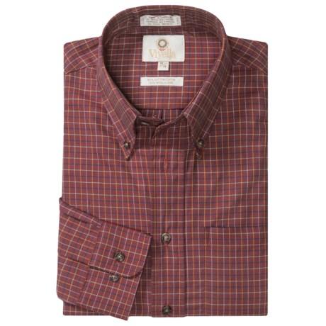 Viyella Cotton-Wool Sport Shirt - Button-Down Collar, Long Sleeve (For Men) in Maroon/Orang/Navy Plaid