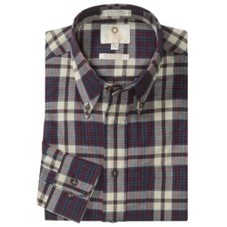 Viyella Cotton-Wool Sport Shirt - Button-Down Collar, Long Sleeve (For Men) in Maroon/Navy/White Plaid