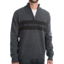 Viyella Lambswool Sweater - Zip Mock Neck (For Men) in Grey/Black - Closeouts